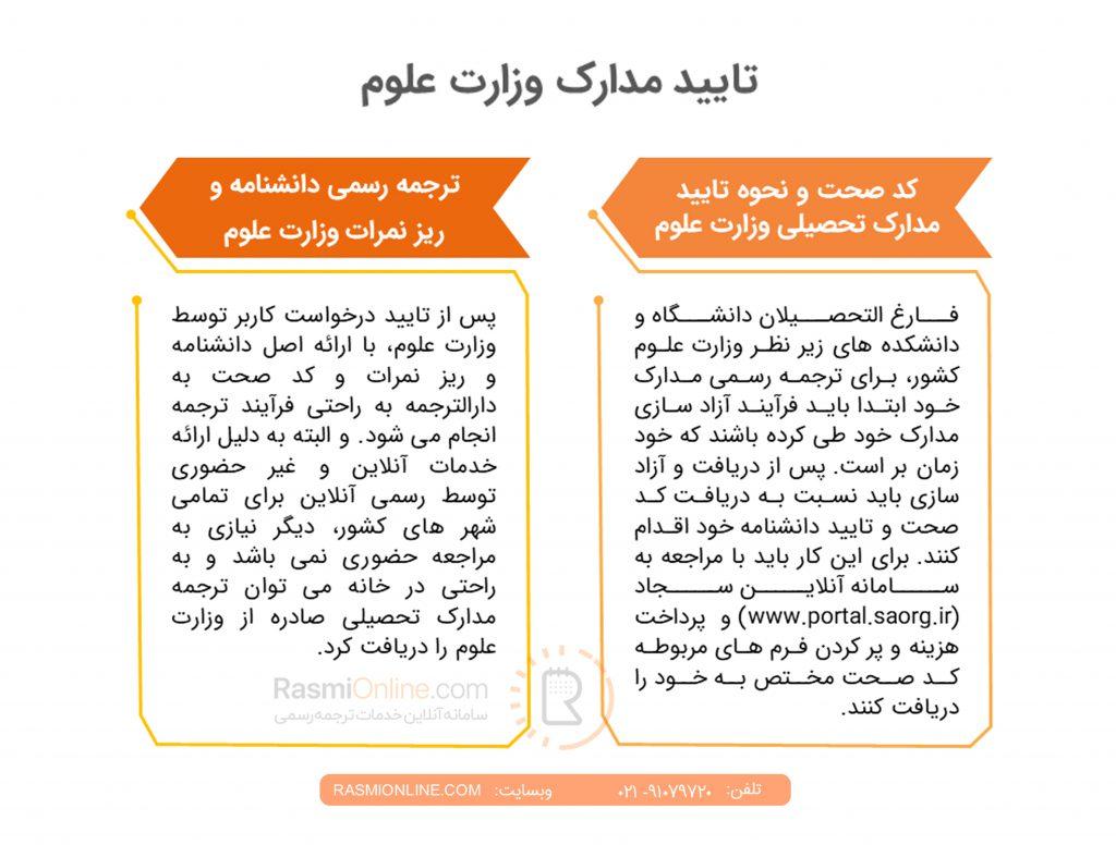 تایید مدارک وزارت علوم