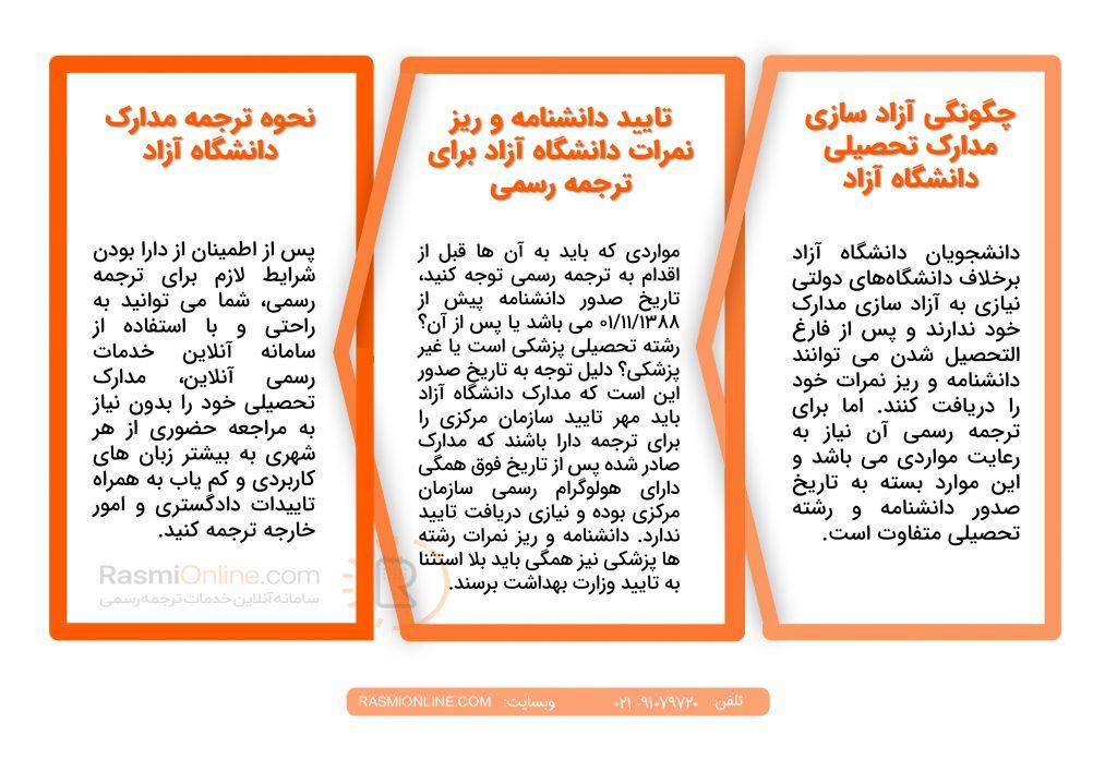 تایید مدارک دانشگاه آزاد